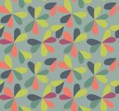 Wektorowy bezszwowy wzór z sercami umieszczającymi w koniczynowych kształtach Płaski shamrock wyobrażający sobie barwi tło Prosty Obrazy Stock