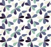 Wektorowy bezszwowy wzór z sercami umieszczającymi w koniczynowych kształtach Płaski shamrock wyobrażający sobie barwi tło Prosty Zdjęcia Royalty Free