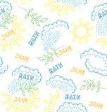 Wektorowy bezszwowy z ręka rysującymi elementami pogoda: deszcz i s ilustracja wektor