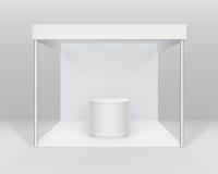 Wektorowy Biały Pusty Salowy Handlowy powystawowy budka standardu stojak dla prezentaci z kontuarem na tle royalty ilustracja