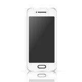 Wektorowy biały realistyczny telefon komórkowy, smartphone odizolowywający na białym tle Zdjęcia Stock
