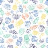 Wektorowy biały tropikalny wzór z imbirem kwitnie, kosz rośliny i Bali stylowi ceramiczni garnki Doskonali? dla tkaniny, Scrapboo royalty ilustracja