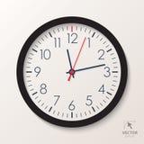 Wektorowy biuro zegar Klasyczny zegarek odizolowywający na białym tle Obraz Stock