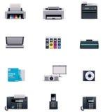 Wektorowy biurowy elektroniki ikony set Fotografia Stock