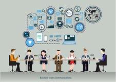 Wektorowy biznes zespala się komunikacje Pojęcie co działania centrum biznesowego biznesmena cmputer biurka laptopu spotkania ja  ilustracja wektor