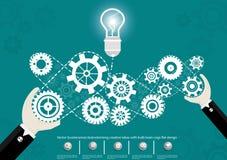 Wektorowy biznesmen brainstorming kreatywnie pomysły z żarówek móżdżkowych cogs płaskim projektem Obrazy Royalty Free