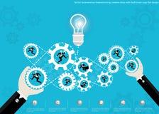 Wektorowy biznesmen brainstorming kreatywnie pomysły z żarówek móżdżkowych cogs płaskim projektem Obrazy Stock