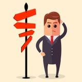 Wektorowy biznesmen lub kierownik musimy wybierać między różnymi trasami Jest przyglądający na drogowym znaku z kierunkami Zdjęcia Royalty Free