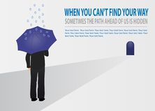 Wektorowy biznesmen próbuje znajdować jego sposób z parasolem Pojęcie strategia biznesowa, budynku biznes, przyrost, balanc ilustracja wektor