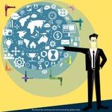 Wektorowy biznesmen pracuje globalnego handlowego płaskiego projekt i komunikuje ilustracja wektor