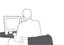 Wektorowy biznesmen pracuje z komputerem ilustracja wektor