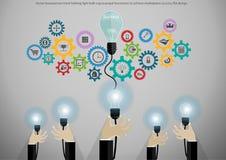 Wektorowy biznesmen ręki mienia żarówki cog napędzać biznesy dokonywać rynku sukces, płaski projekt ilustracji