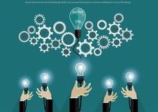 Wektorowy biznesmen ręki mienia żarówki cog napędzać biznesy dokonywać rynku sukces, płaski projekt ilustracja wektor