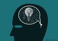 Wektorowy biznesmena brainstorming dla pomysł twórczości płaskiego projekta royalty ilustracja