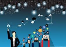 Wektorowy biznesmena brainstorming na technologii dla sukcesu z wiszącą ozdobą, pastylką, notebookami i różnorodnych ikon płaskim royalty ilustracja