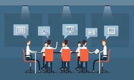 wektorowy biznesowy pracy zespołowej spotkanie, komunikacja i Zdjęcie Stock