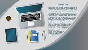 Wektorowy biznesowy tło z laptopem i inny rzeczy ilustracja wektor