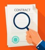Wektorowy biznesu kontrakt, magnifier i TARGET22_0_ dokument Zdjęcie Royalty Free