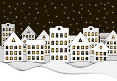 Wektorowy Bożenarodzeniowy tło, nocy Śnieżny miasteczko, Papierowa sztuka stylu ilustracja, łuna w Windows royalty ilustracja