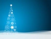Wektorowy Bożenarodzeniowy tło z drzewem robić od płatków śniegu Obraz Royalty Free