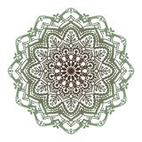 Wektorowy brąz wskazujący abstrakt zieleni mandala royalty ilustracja