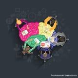 Wektorowy Brainstorming biznesmena obsiadanie na mózg Fotografia Stock