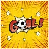 Wektorowy Bramkowy słowo z futbolową piłką w komiksu stylu ilustraci Obraz Stock