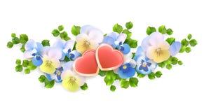 Wektorowy bukiet kwitnie, serca na białym tle ilustracji