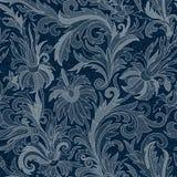 Wektorowy cajgu tło z kwiatami Drelichowy bezszwowy wzór tkanina błękitny cajgi grunge kwiecisty tła ilustracji