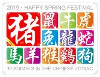 Wektorowy Chiński zodiak podpisuje z rokiem świnia w 2019 ilustracji