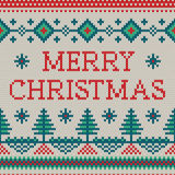 Wektorowy Christmass ornament na trykotowej teksturze Zdjęcia Royalty Free
