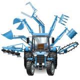 Wektorowy Ciągnikowy Wielo- wyposażenie ilustracji