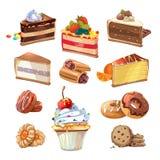 Wektorowy ciasto ustawiający w kreskówka stylu Zdjęcie Royalty Free