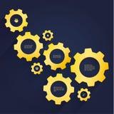 Wektorowy cogwheel szablon - luksusowi złociści cogs. Cogwheel związek royalty ilustracja