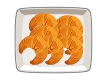 Wektorowy croissant w talerzu na białym tle ilustracja wektor