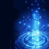 Wektorowy cyfrowy globalny technologia interfejs, abstrakcjonistyczny tło Zdjęcia Royalty Free
