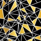 Wektorowy Czarnej, Białej i Złocistej folii mozaiki trójboków Geometrycznej powtórki Bezszwowy Deseniowy tło, Może Używać Dla tka ilustracji