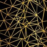 Wektorowy Czarnej i Złocistej folii mozaiki trójboków Geometrycznej powtórki Bezszwowy Deseniowy tło Może Używać Dla tkaniny Obrazy Stock