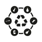Wektorowy czarny śmieciarski ikona set Zdjęcie Stock
