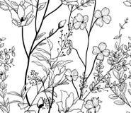 Wektorowy Czarny Bezszwowy wzór z Patroszonymi kwiatami, gałąź, rośliny ilustracja wektor