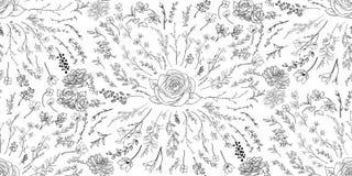Wektorowy Czarny Bezszwowy wzór z Patroszonymi kwiatami, gałąź, rośliny royalty ilustracja