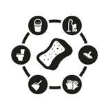 Wektorowy czarny cleaning ikony set Obraz Stock