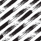 Wektorowy czarny i biały bezszwowy wzór z liniami Odszukana akwarela royalty ilustracja