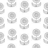 Wektorowy czarny i biały doodle kwiatów wzór z abstrakcjonistycznymi kwiecistymi kwiatami Czarny i biały pociągany ręcznie kwiat  royalty ilustracja