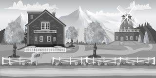 Wektorowy czarny i biały gospodarstwo rolne ilustracji