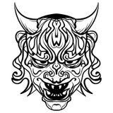Wektorowy czarny i biały demon z rogami Obrazy Stock