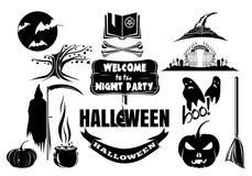 Wektorowy czarny i biały Halloweenowy ikona set zdjęcie royalty free