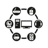 Wektorowy czarny komputerowy ikona set Obraz Stock