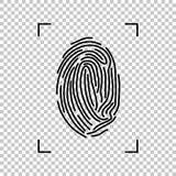 Wektorowy czarny odcisk palca odizolowywający na przejrzystym tle Zdjęcie Stock