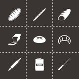 Wektorowy czarny piekarni ikony set Zdjęcie Stock